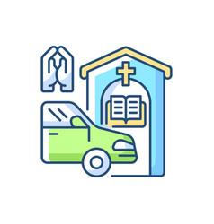 Drive through prayer booth rgb color icon vector