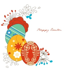 easter eggs corner decoration vector image vector image