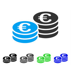 Euro coin stacks flat icon vector