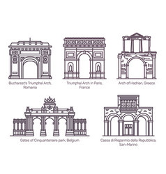 european famous arch or sightseeing arcsthin line vector image