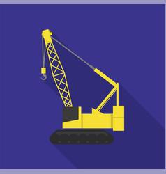 excavator crane icon flat style vector image
