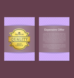 expensive offer premium quality best golden label vector image