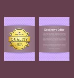 expensive offer premium quality best golden label vector image