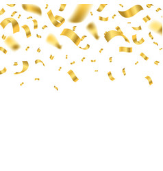 falling shiny golden confetti falling on a white vector image
