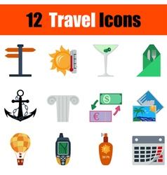 Flat design travel icon set vector
