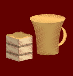 flat shading style icon cup of coffee and pie vector image