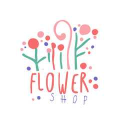 flower shop logo template hand drawn vector image