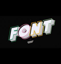 font 3d bold style modern typography vector image
