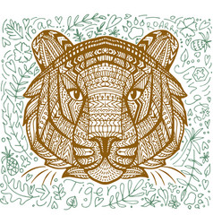 geometric patterned head tiger hand drawn vector image