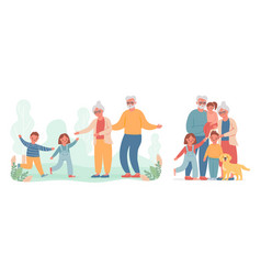 grandparents and grandchildren kid run to visit vector image