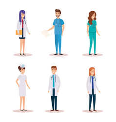 group of doctors with nurse vector image