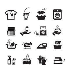 Laundry washing icons set vector image