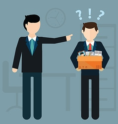 Layoff concept Boss dismissed employee Flat vector image