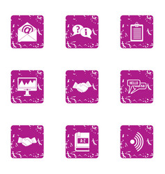Linguistic icons set grunge style vector