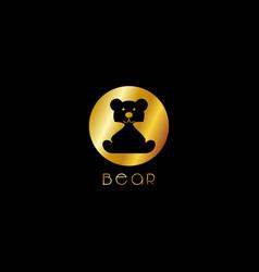 Luxury cute gold bear logo template vector