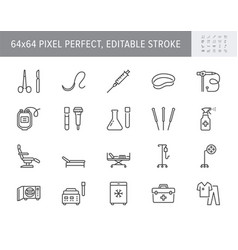 Medical equipment line icons vector