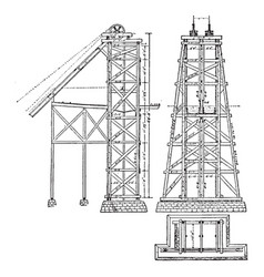 Mining headgear hoist tower vintage vector