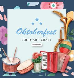 Oktoberfest frame with musical instrument vector