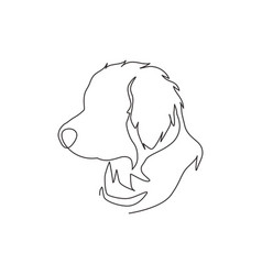 one single line drawing simple cute puppy dog vector image