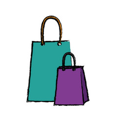 Paper shopping bag gift handle element vector