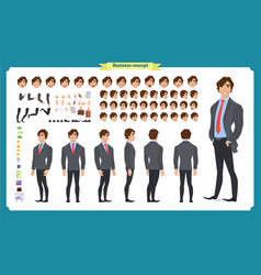 People character business set front side back vector