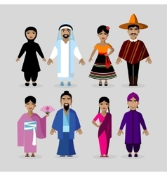 People in traditional costumes Mexico Japan vector