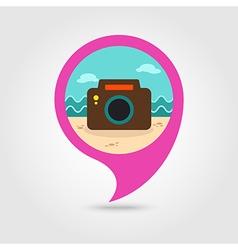 Photo Camera pin map icon Summer Vacation vector image