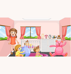 Pink bedroom scene with a girl and babies vector
