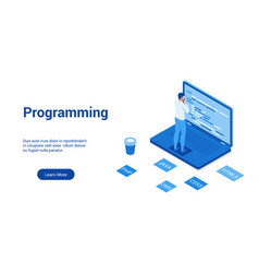 programming blue template vector image