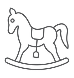 rocking horse thin line icon baby and toy vector image