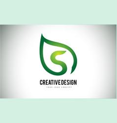 s leaf logo letter design with green leaf outline vector image