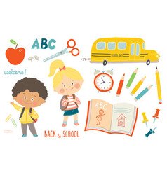 school set funny hand drawn characters and vector image