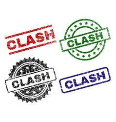 Scratched textured clash stamp seals vector