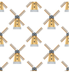 seamless pattern windmills on white background vector image