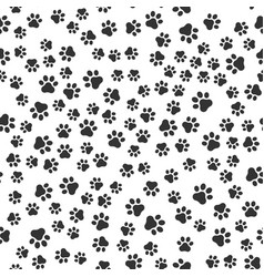seamless pet paw pattern background dog or cat vector image