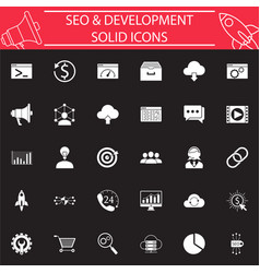 Seo and development solid icon set vector
