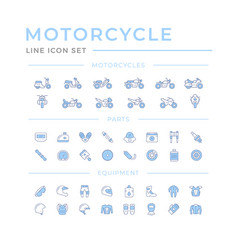 set motorcycle related color line icons vector image
