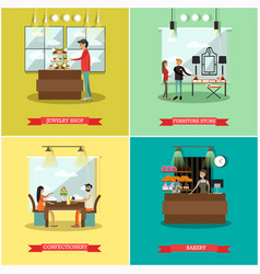 Set of shops square posters in flat style vector