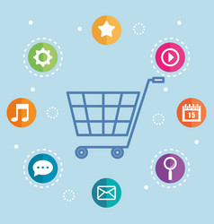 Shopping online commerce market digital internet vector