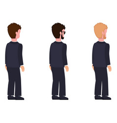 Side view males flat style man constructor set vector