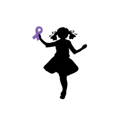 Silhouette girl with purple ribbon world epilepsy vector