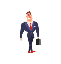 smiling businessman walking with briefcase vector image