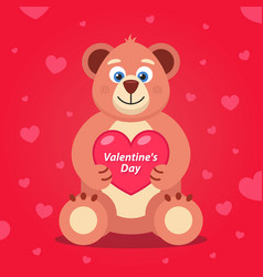 Soft teddy bear with a heart in its paws banner vector