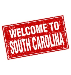 South Carolina red square grunge welcome to stamp vector image
