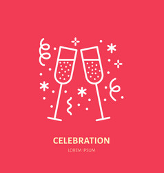 Sparkling wine line icon logo for event vector