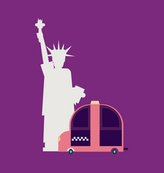 Statue of liberty and taxi new york landmark vector
