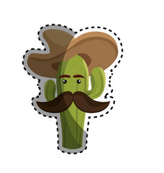sticker animated sketch cactus with mexican hat vector image