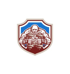 Strongman Lifting Dumbbells Shield Retro vector