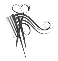 symbol of scissors and comb vector image