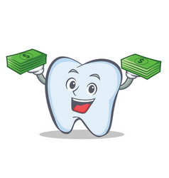 Tooth character cartoon style with money vector